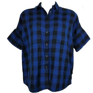 Madewell Courier Blue Plaid Flannel Button Shirt
